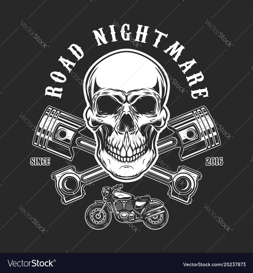 Road nightmare human skull with crossed pistons vector image