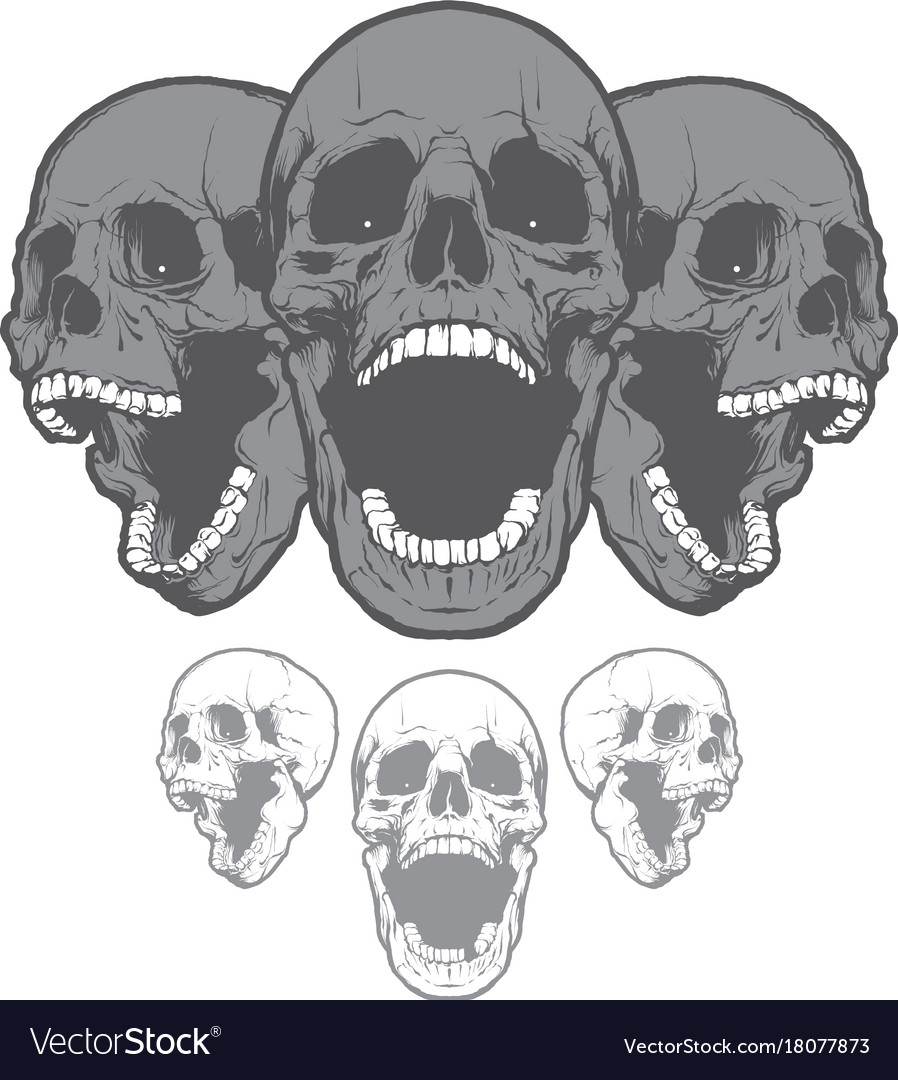 Screaming Skulls Royalty Free Vector Image Vectorstock