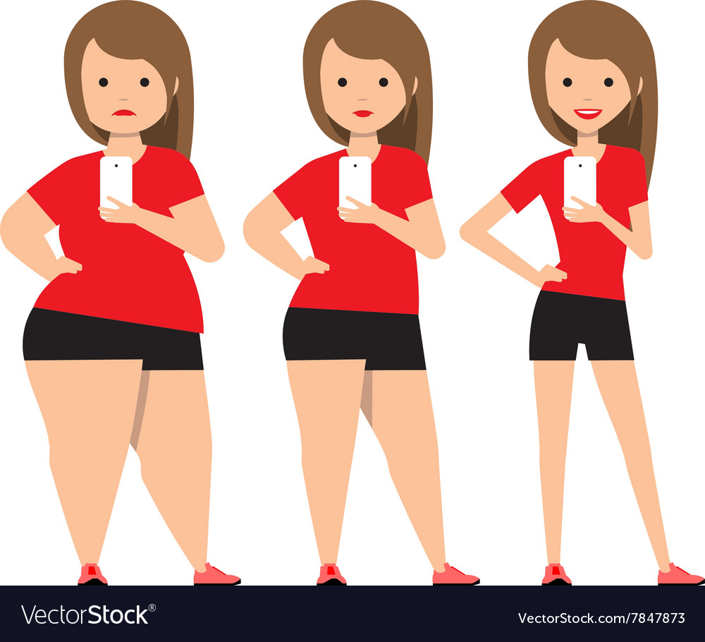 Stages Weight Loss Before And After Royalty Free Vector