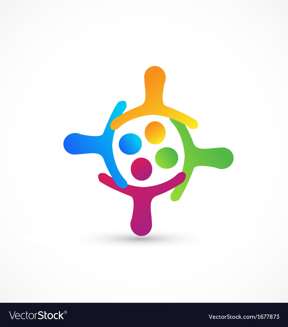 Teamwork hug together logo vector image