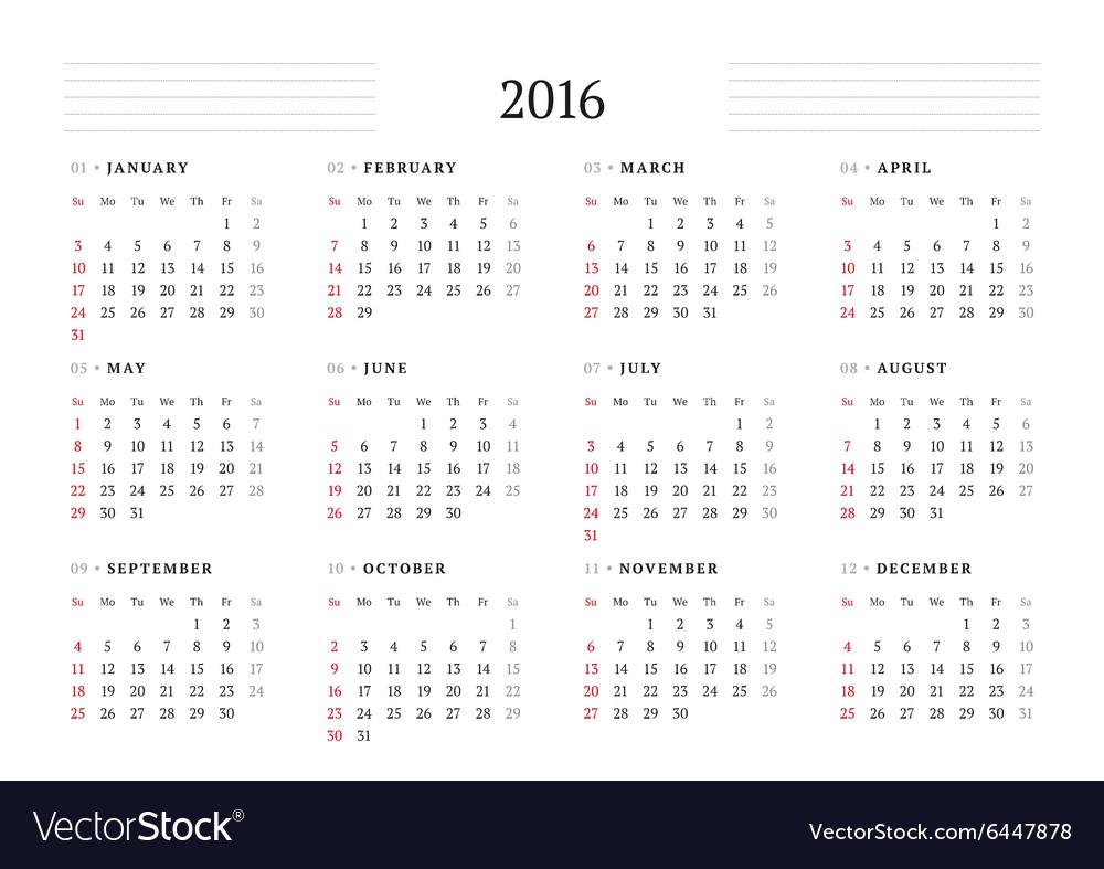calendar 2016 print template 12 months week starts