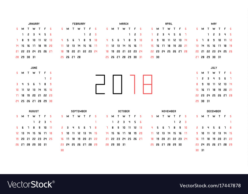 Calendar for 2018 year on white background