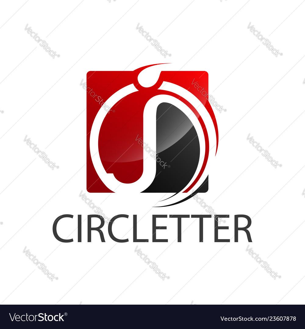 Circle square initial letter j logo concept
