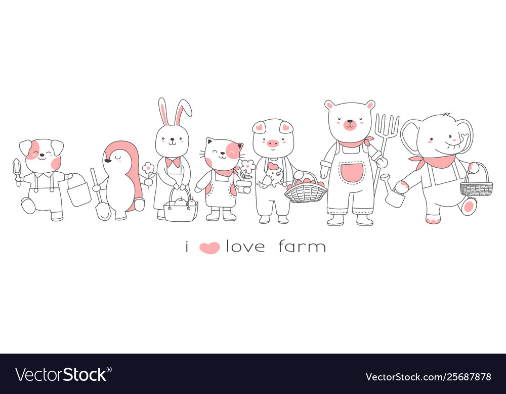 Cute baanimals collection hand drawn style