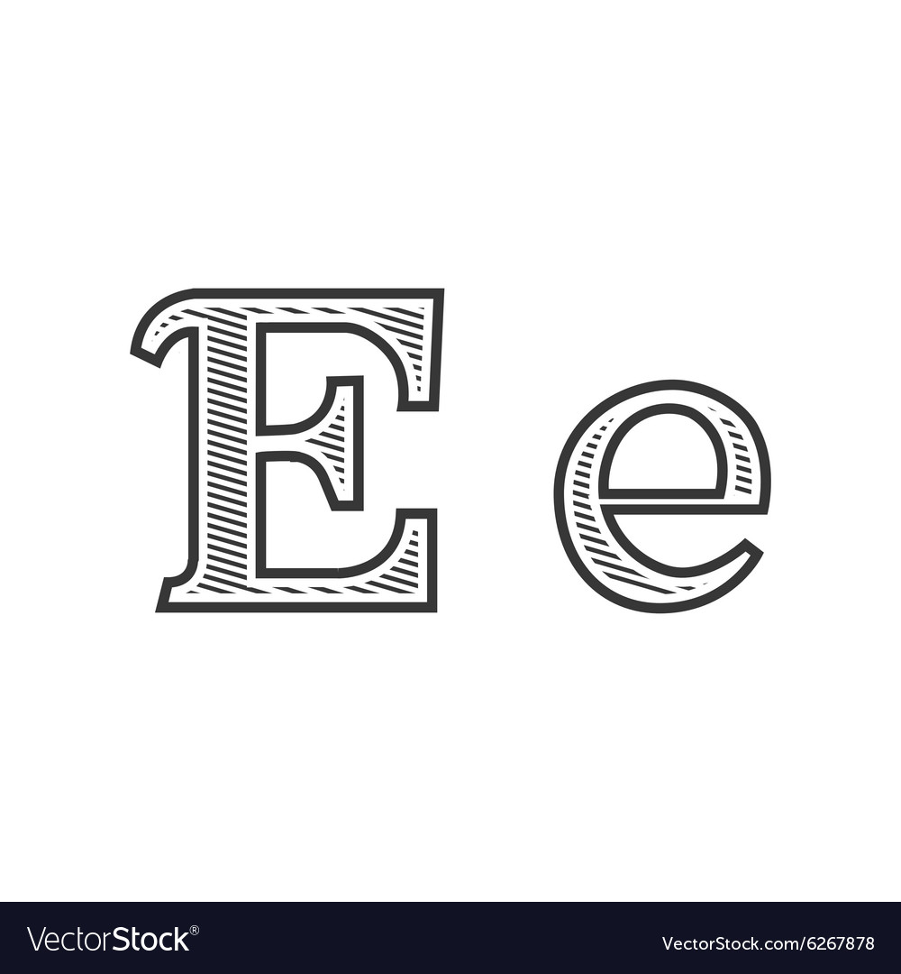 Font tattoo engraving letter E with shading