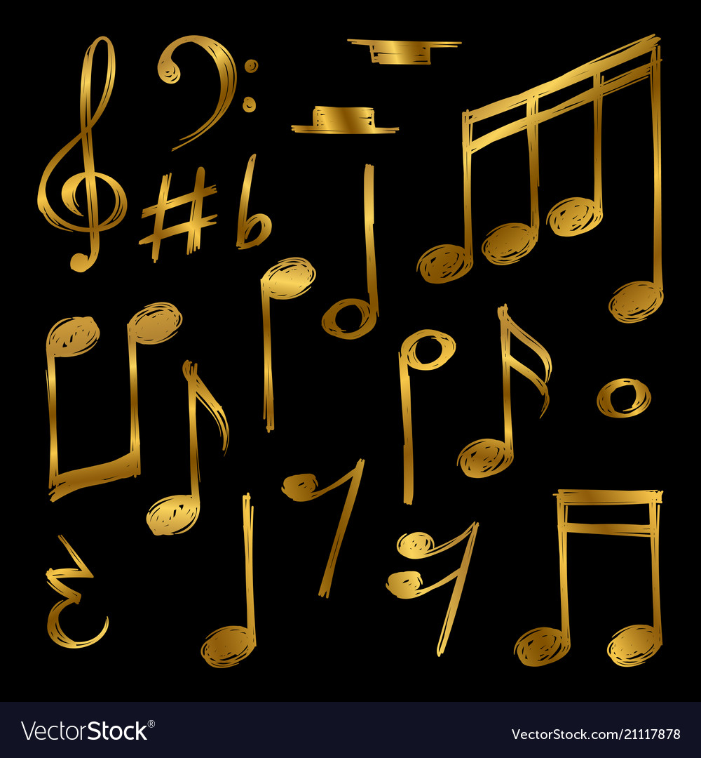 Golden music notes and signs isolated on black