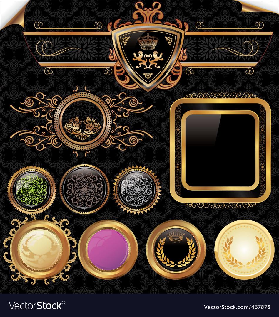 Golden vintage labels set vector image