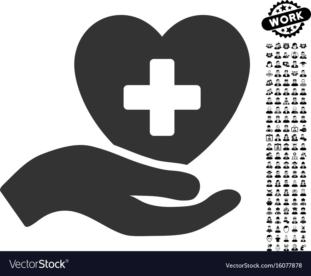 Hand offer cardiology icon with people bonus