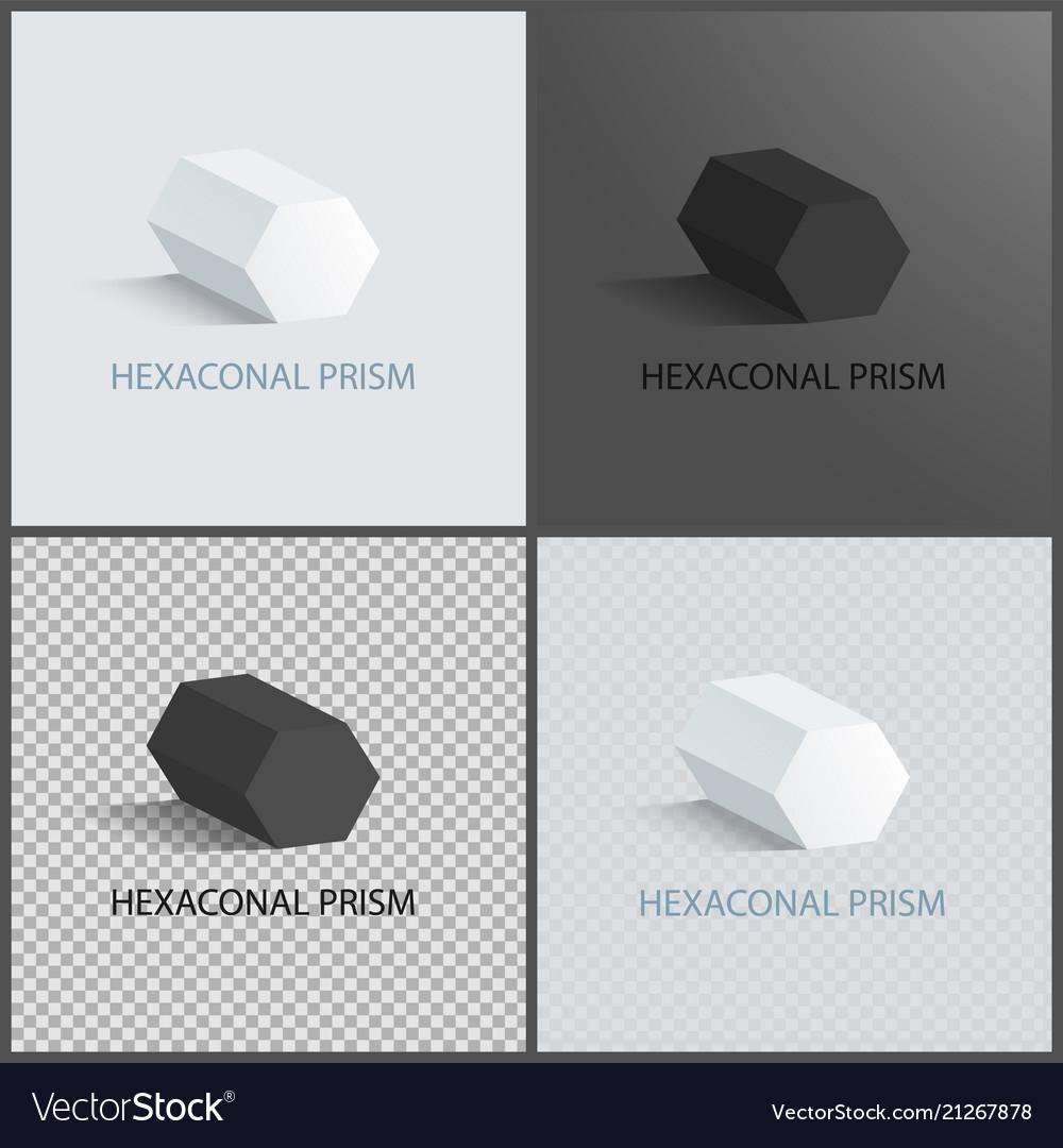 Hexagonal prisms set on dark light and transparent