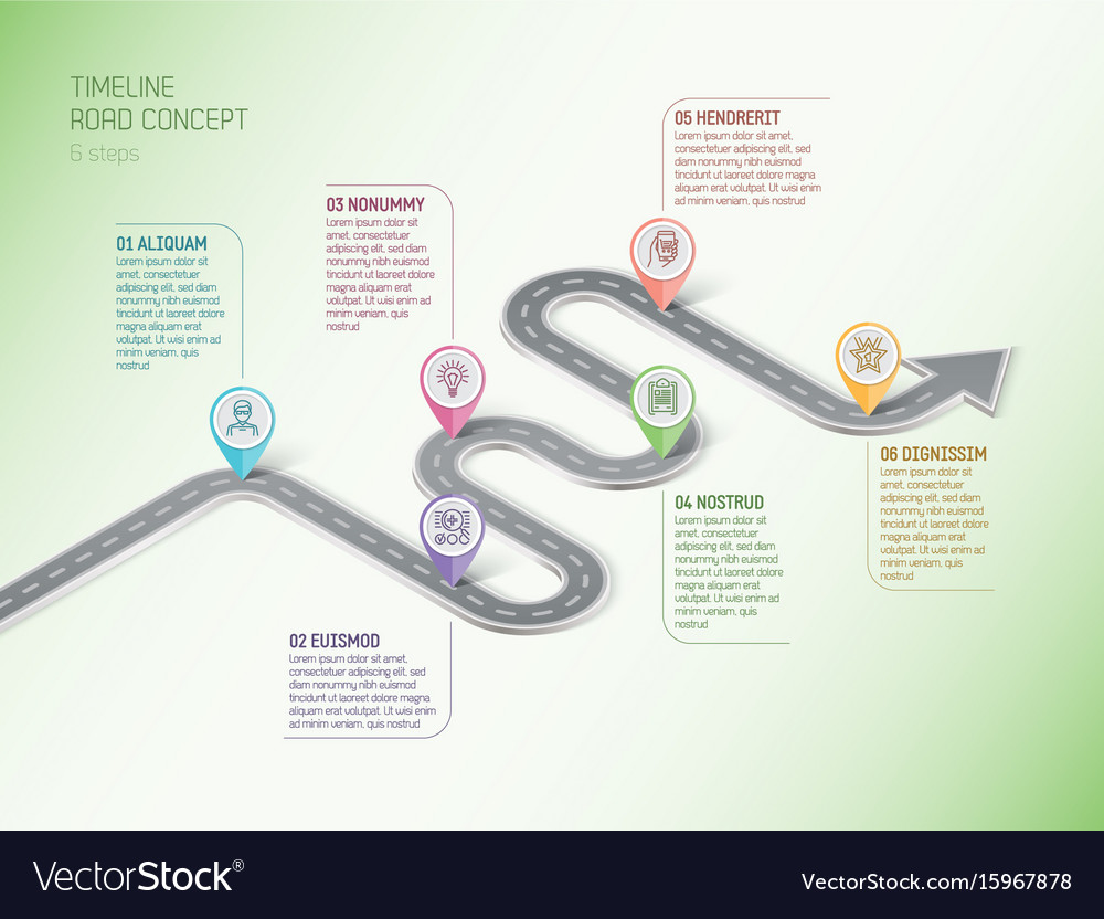Isometric navigation map infographic 6 steps