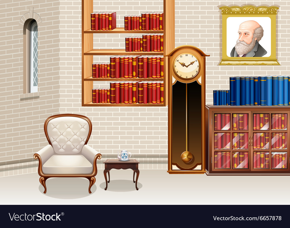 Bookshelves And Furnitures Vector Image