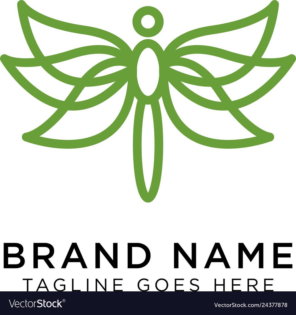 Minimalist elegant dragonfly logo design with