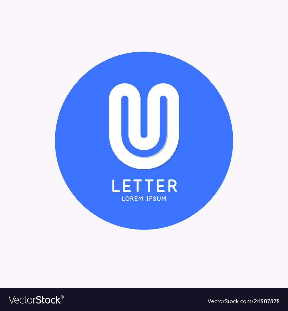 Modern linear logo and sign letter u