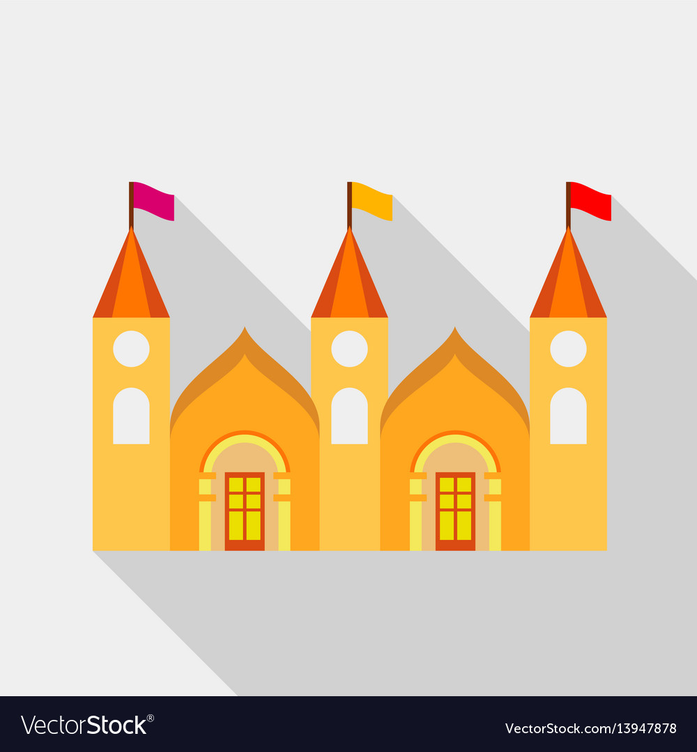 Residential mansion with towers and flags icon