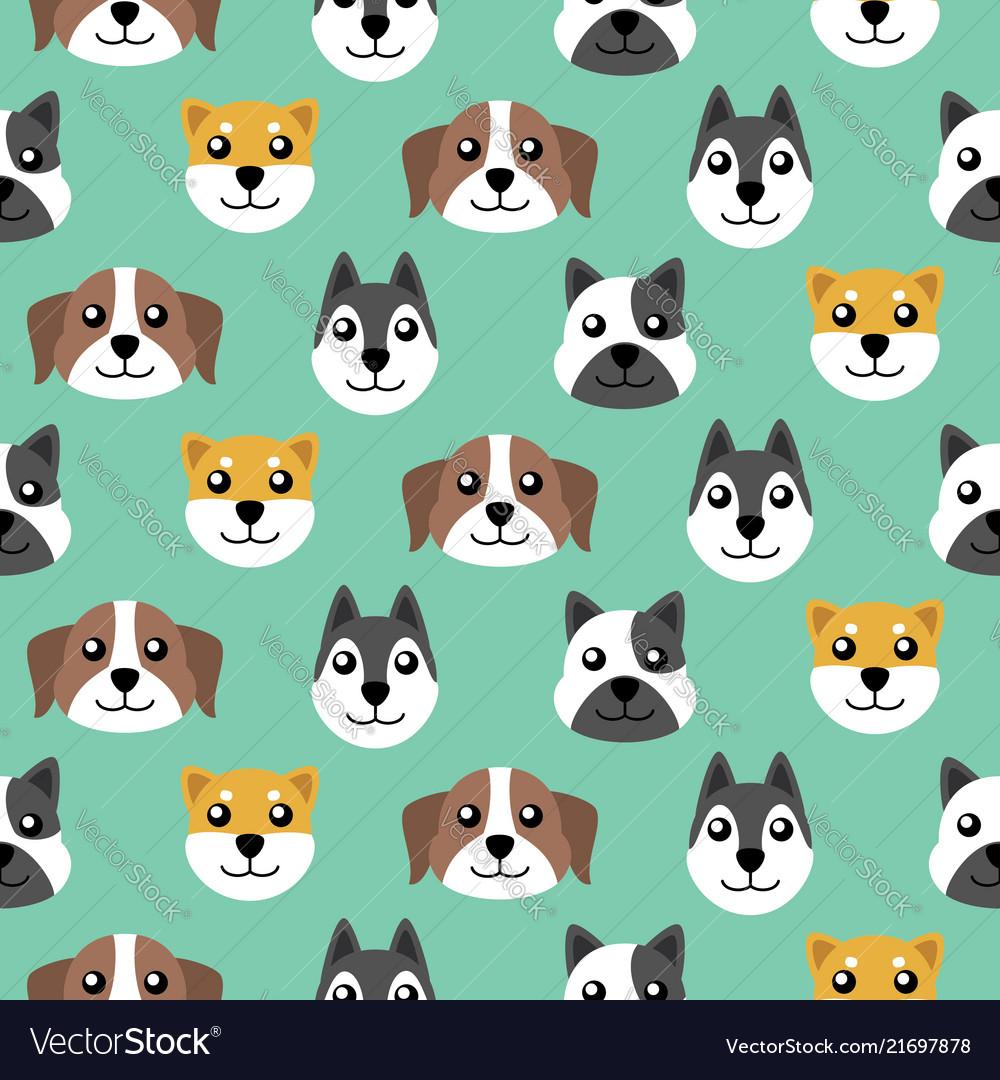 Seamless cute puppy pattern background