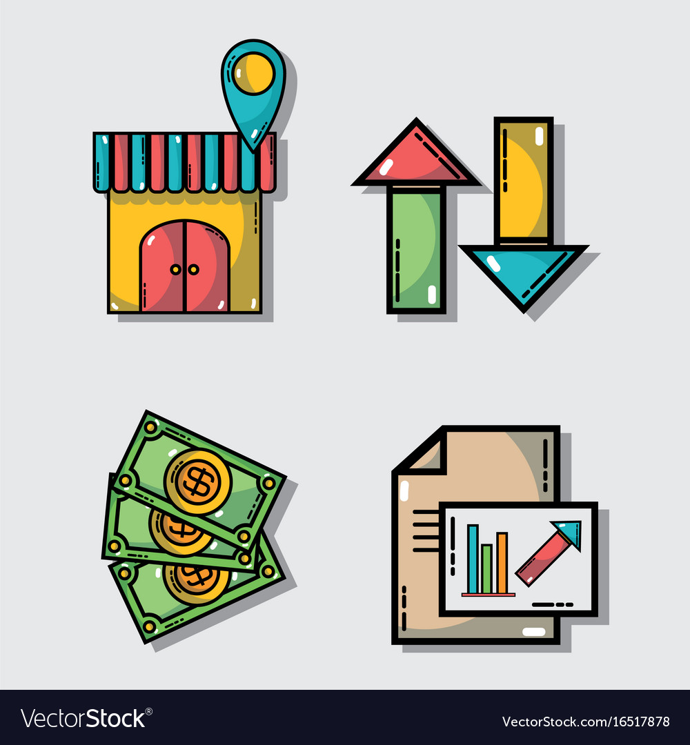 Set marketing information with statistics strategy vector image