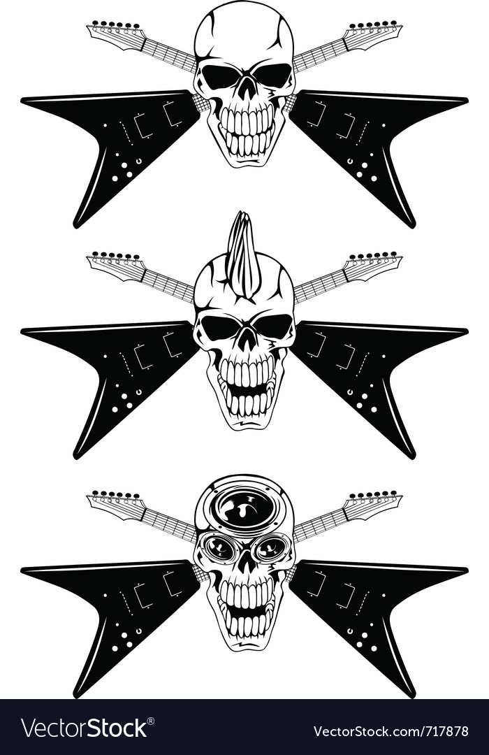 Skull with guitars