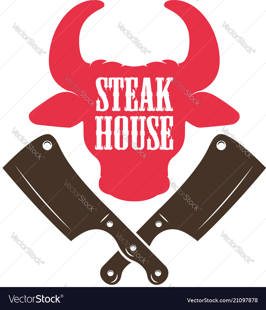 Steak house bull head silhouette and crossed meat