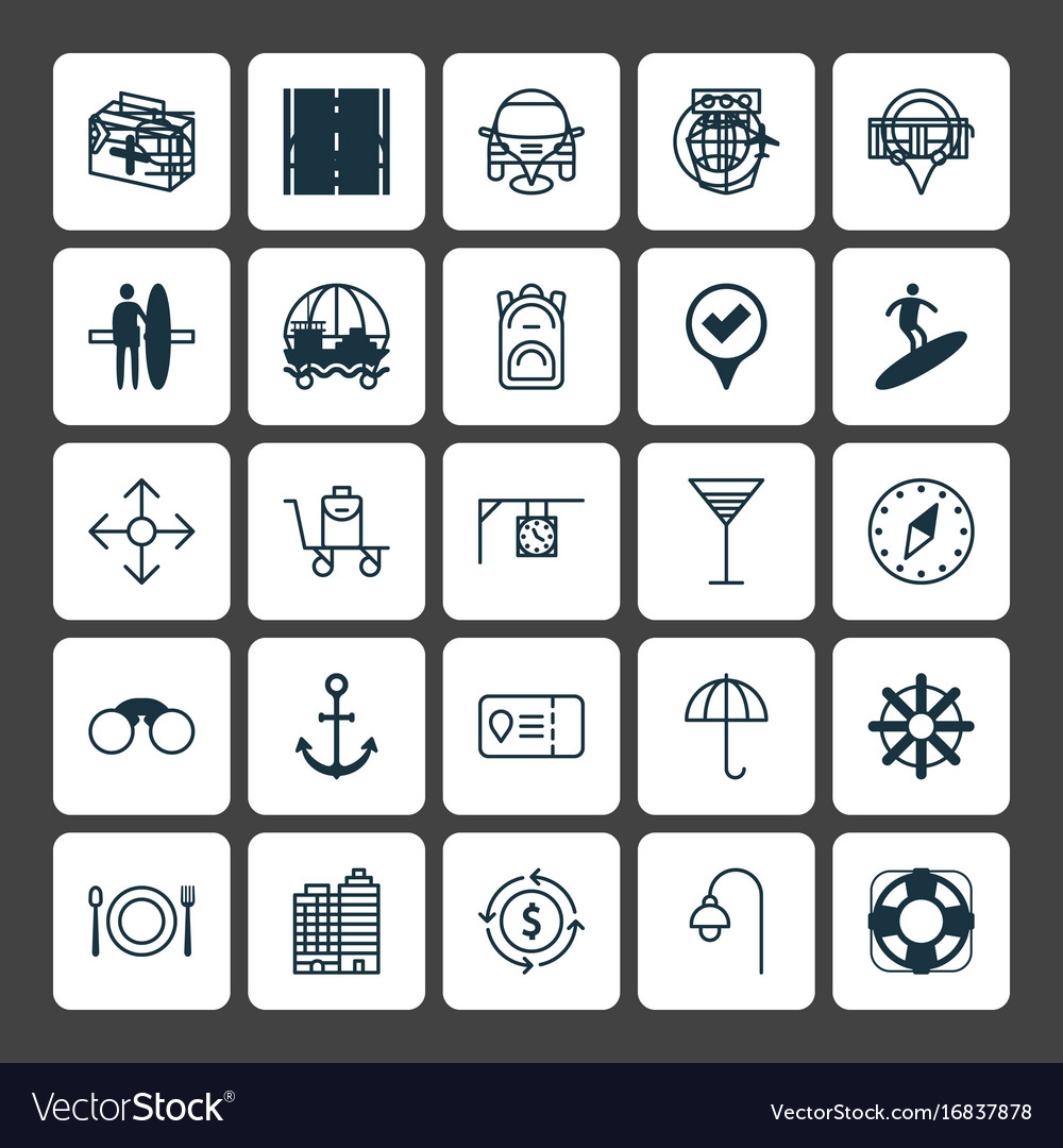 Travel icons set collection of marker ship hook