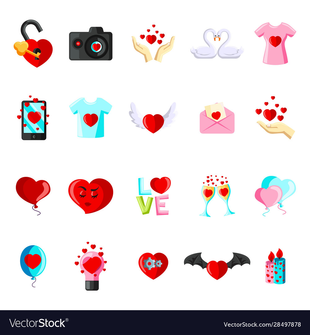 Valentine day set cartoon flat icons vector