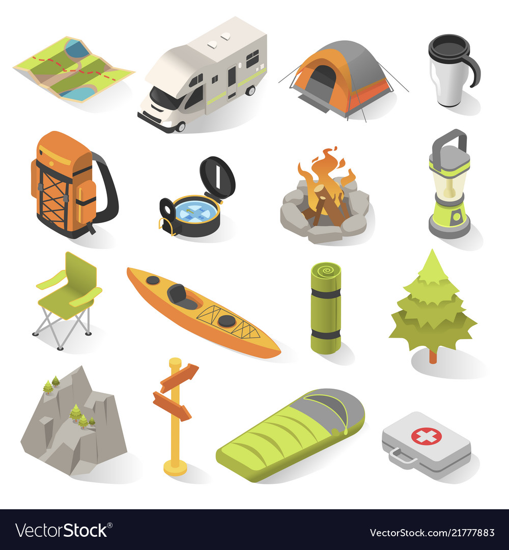 Camping and travel isometric elements