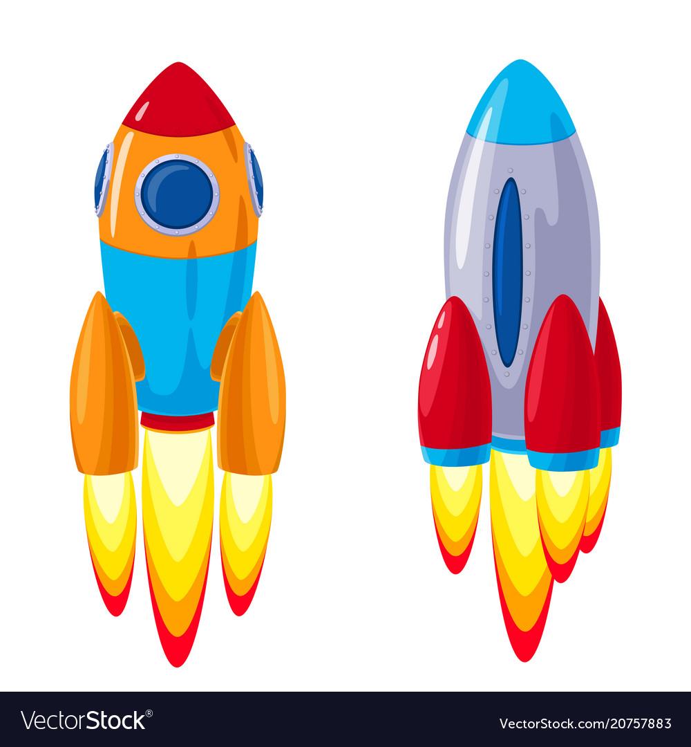Cartoon rockets spaceships set