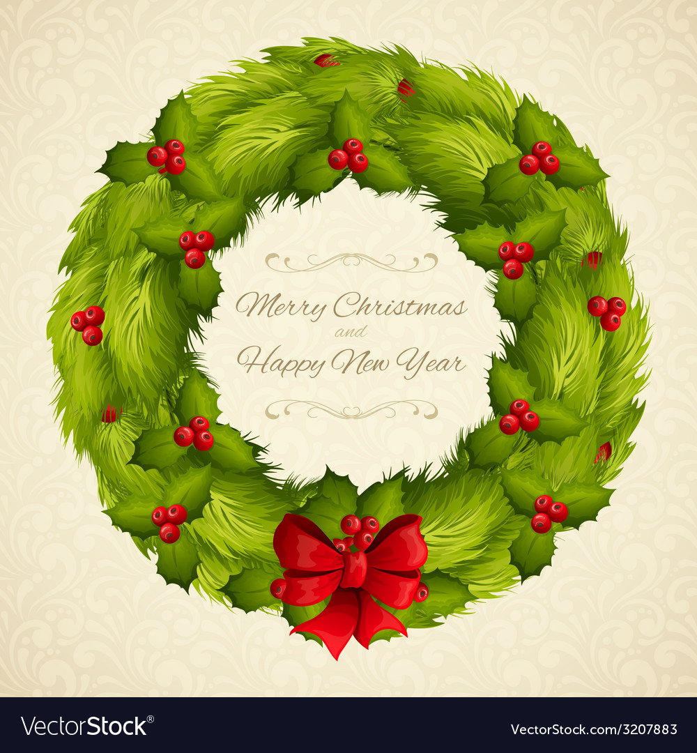 Christmas wreath postcard