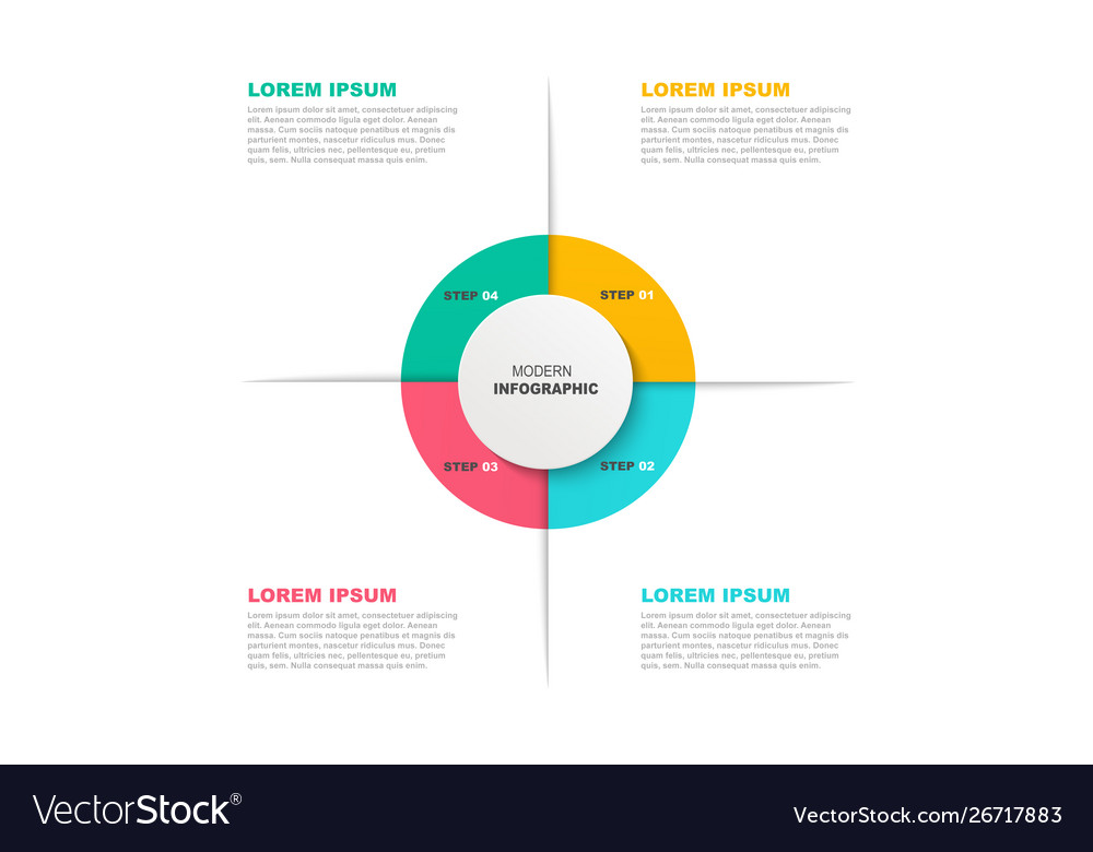 Circle infographic template with icons and 4