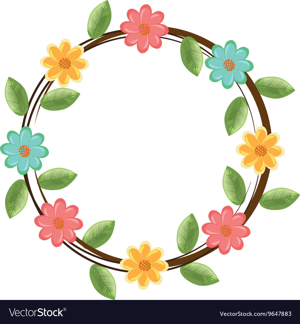 Colorful Flowers Crown Graphic Royalty Free Vector Image
