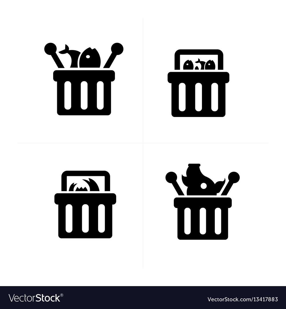 Fresh food shopping cart icon set vector image