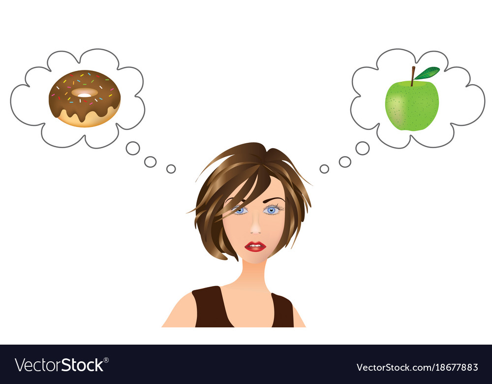 Girl thinking about food choice