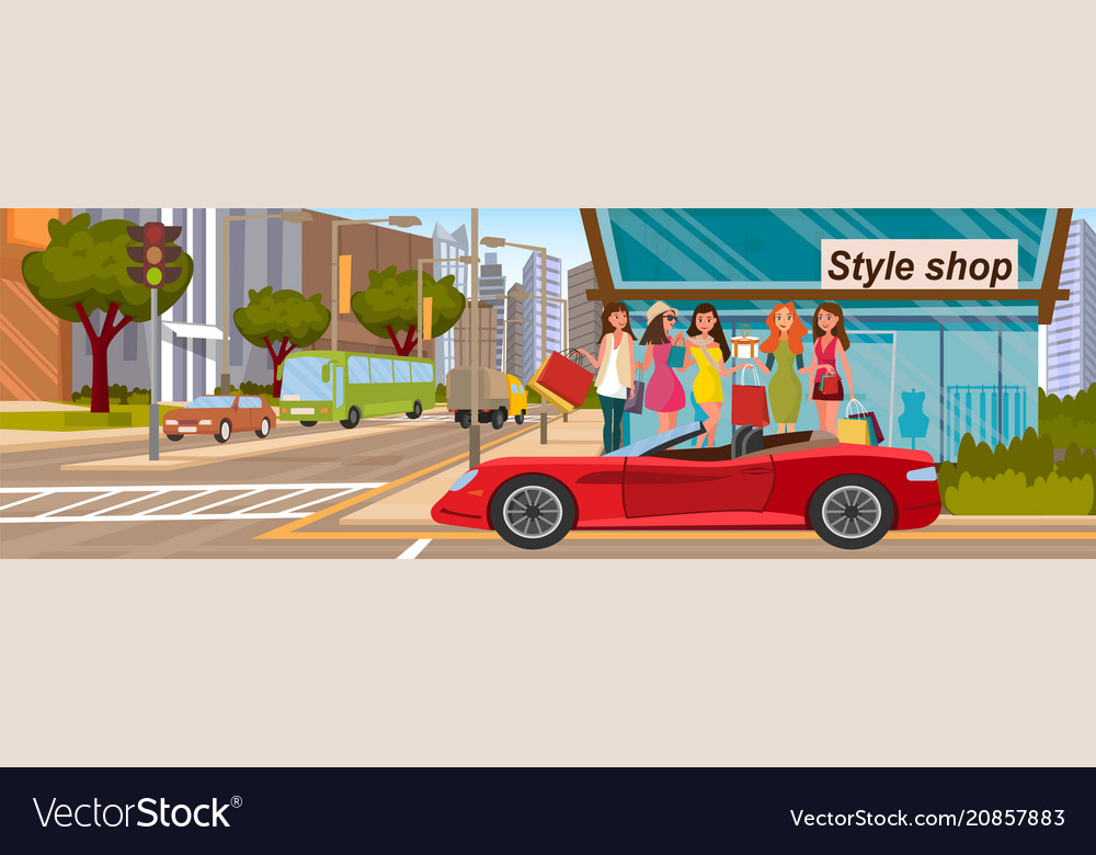 Girlfriends shopping concept load into red car