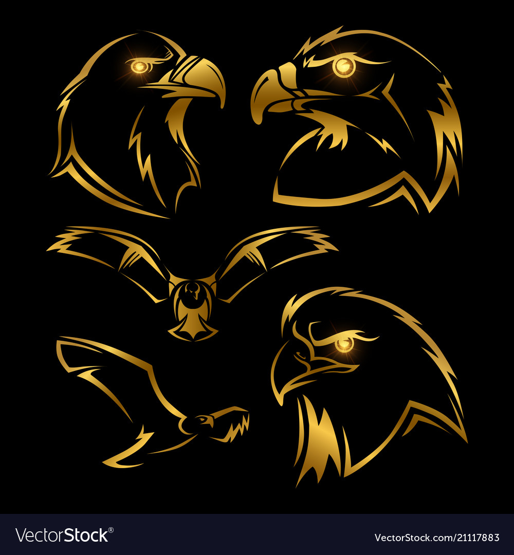 Golden eagle hawk mascots set