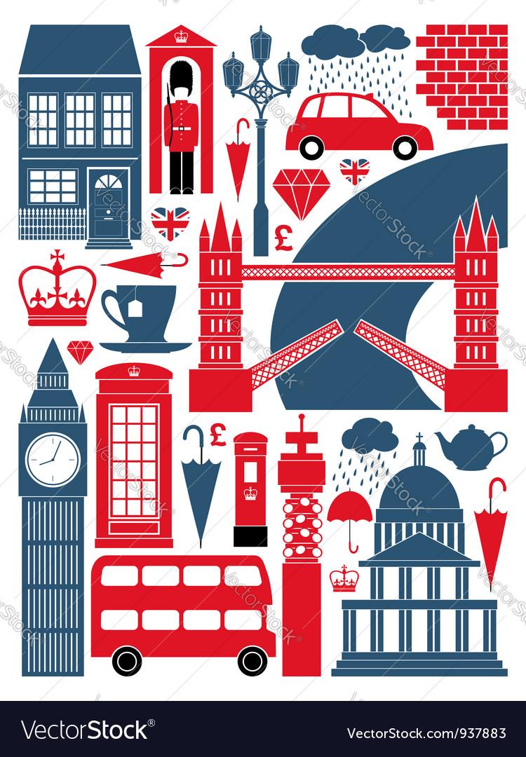 London symbols set vector image