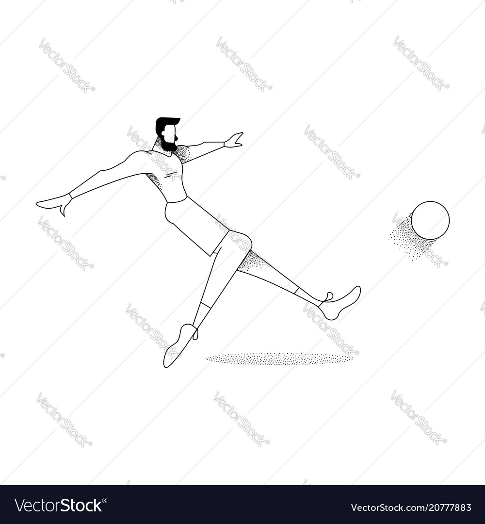Man soccer player pose silhouette in outline style vector image