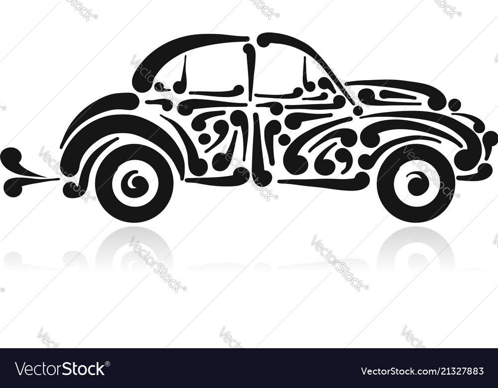 Retro car abstract painted silhouette for your