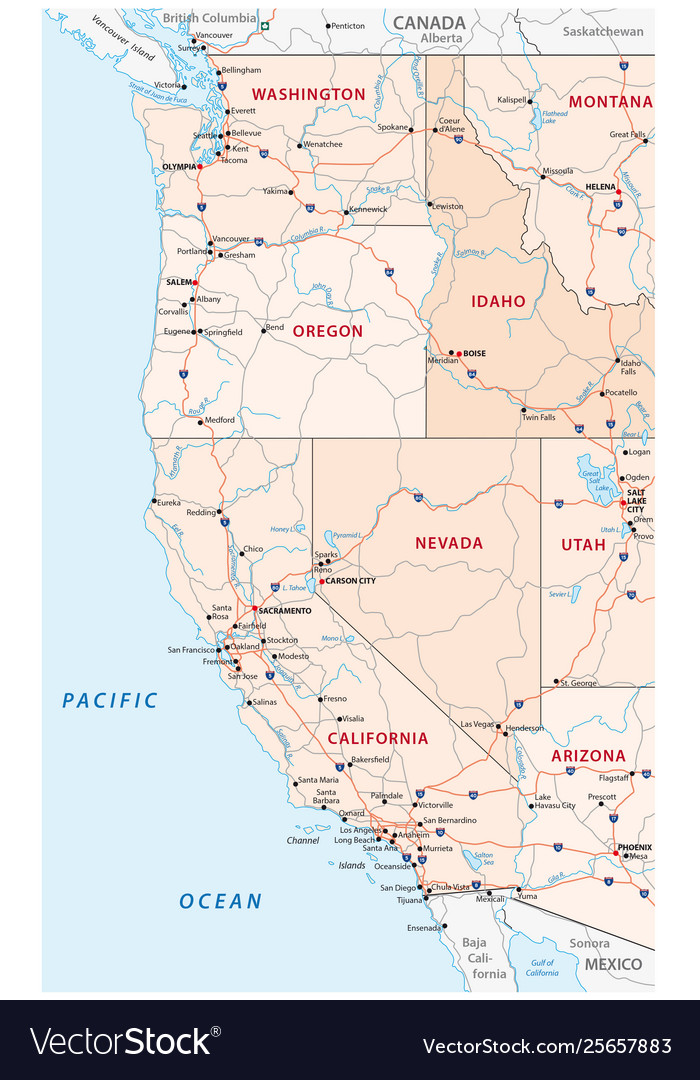 Roads and administrative map western usa