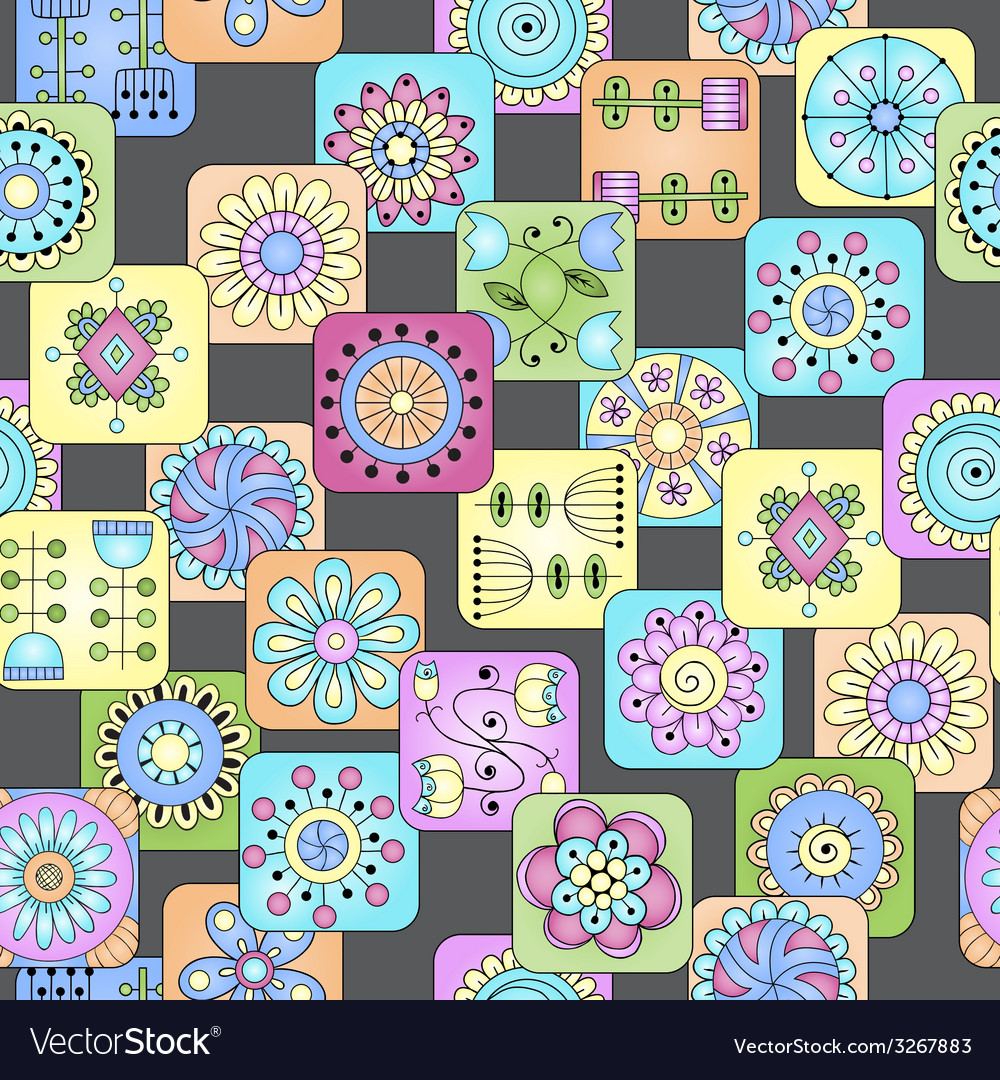 Seamless doodle flowers leaves hearts pattern