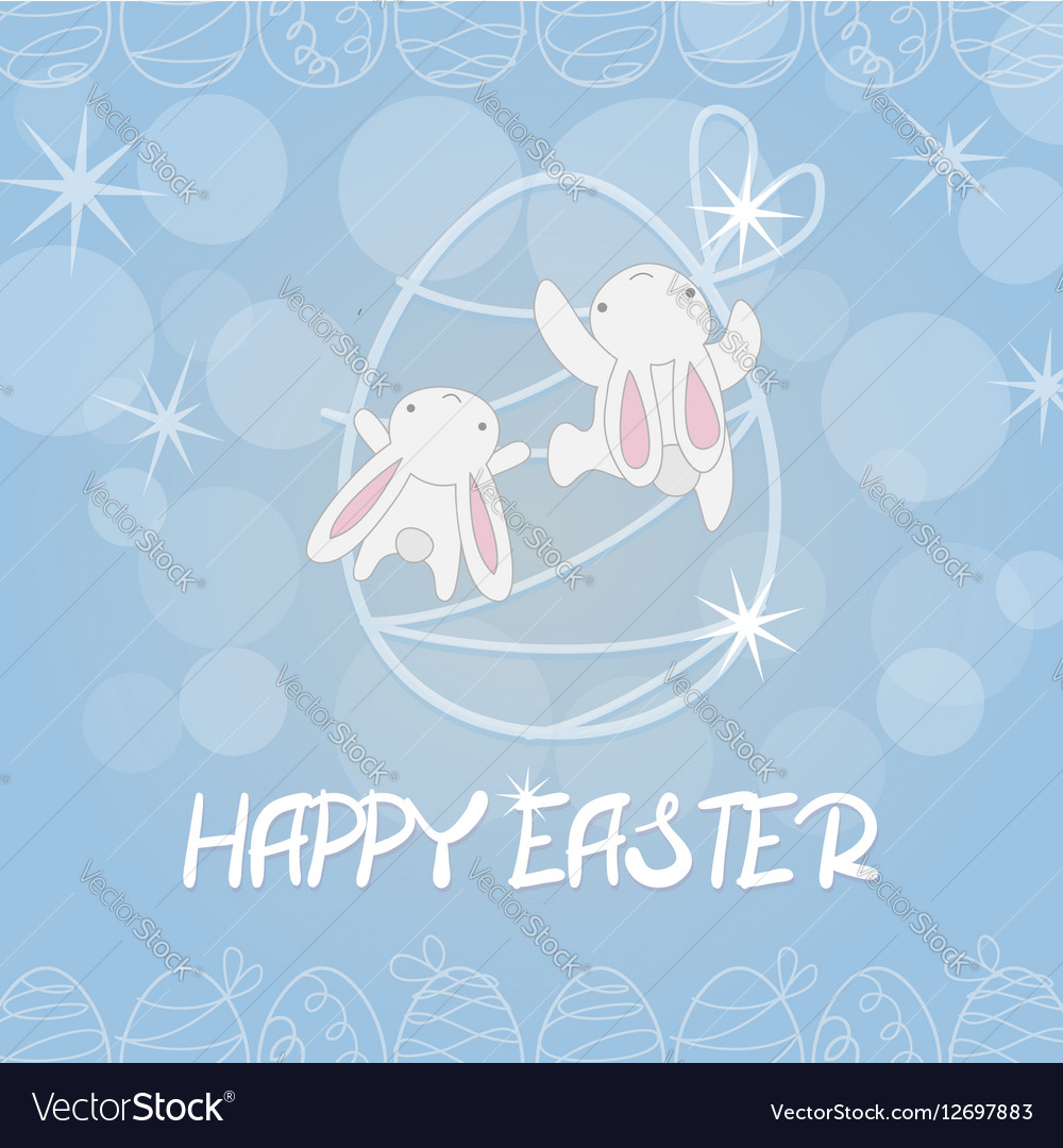 Two white easter bunny greeting