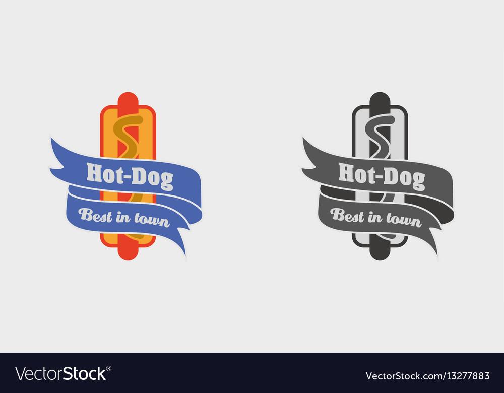 Vintage fast food logo sign label or