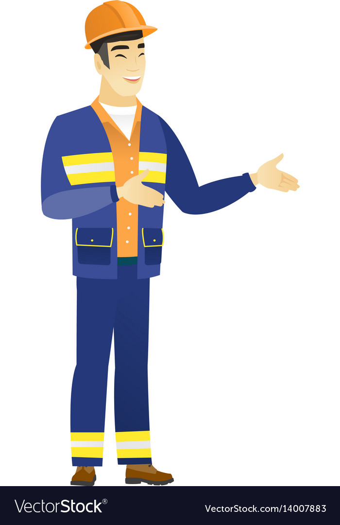 Young asian happy builder gesturing vector image