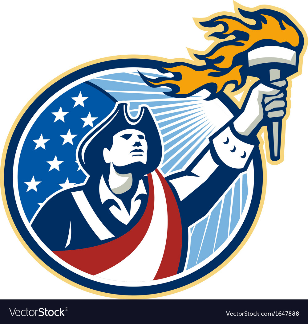 American Patriot Holding Torch Stars Stripes Flag vector image