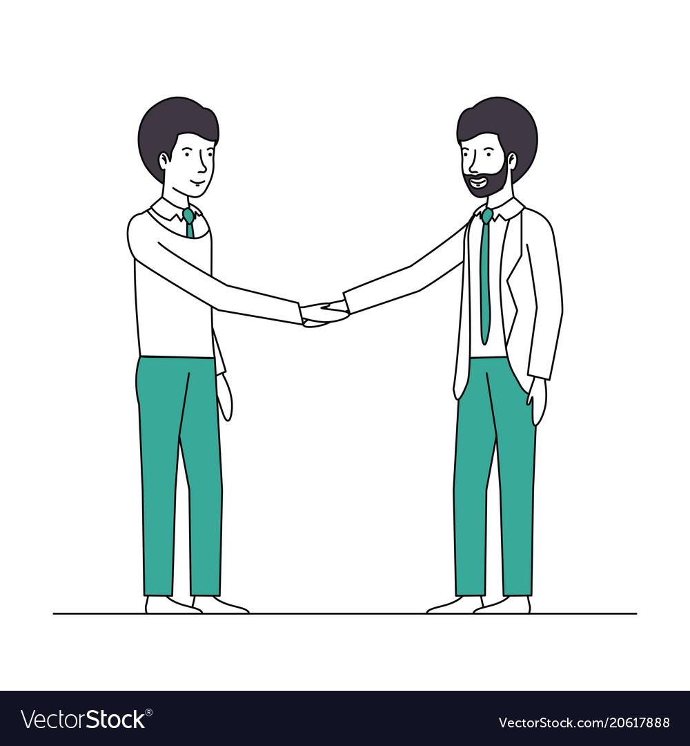 Businessmen shaking hands characters