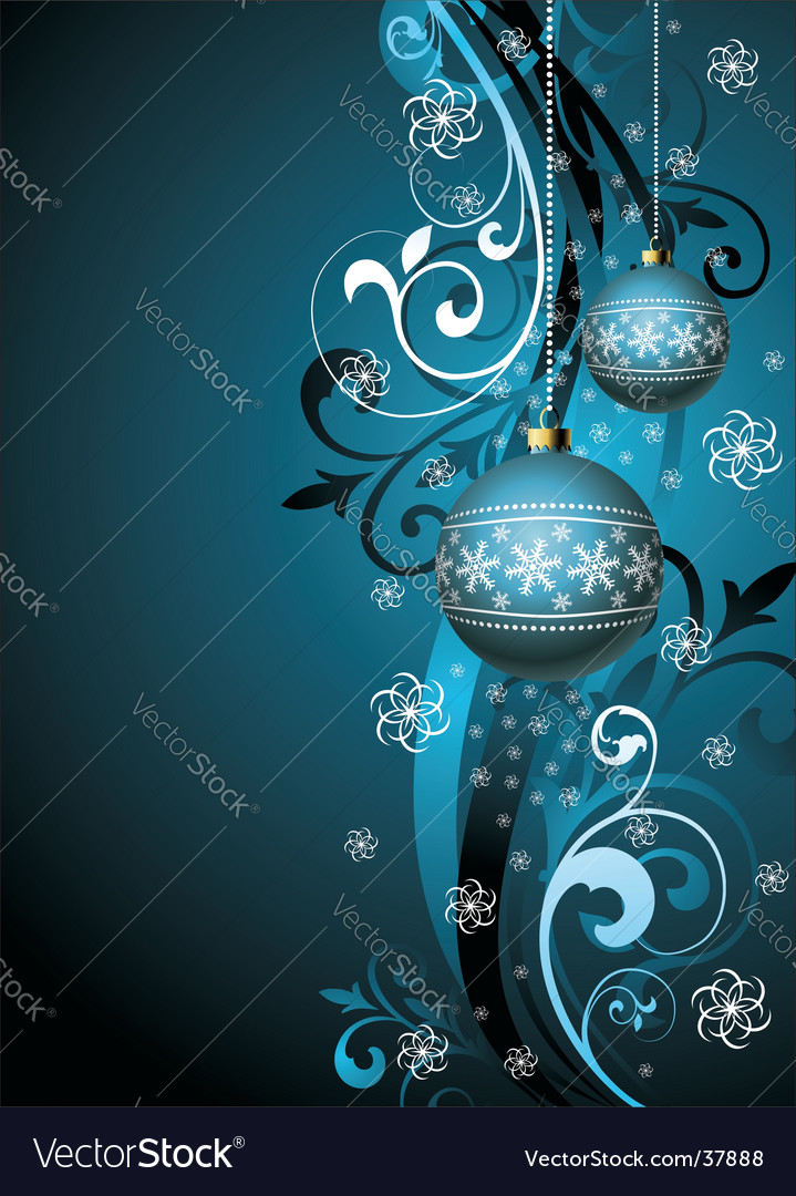 Christmas illustration with blue glass
