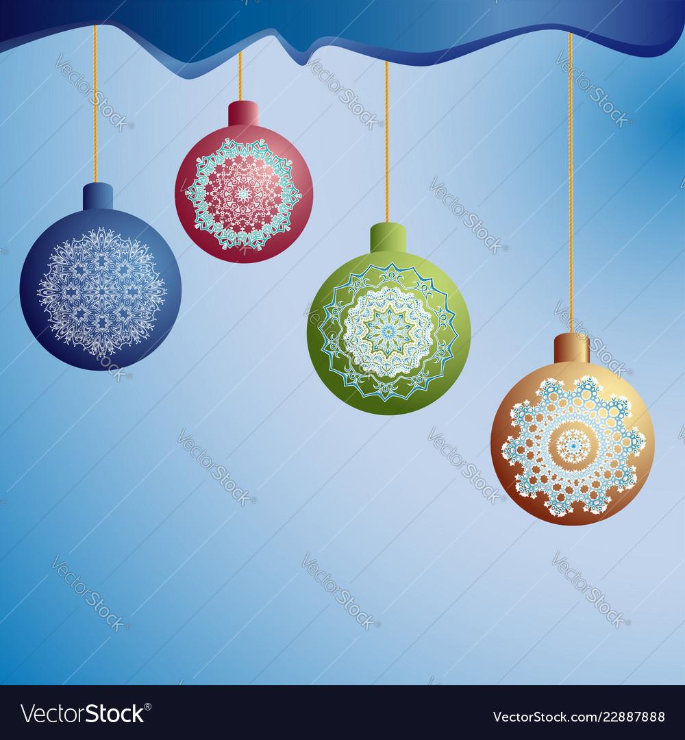 Christmas tree balls on ropes