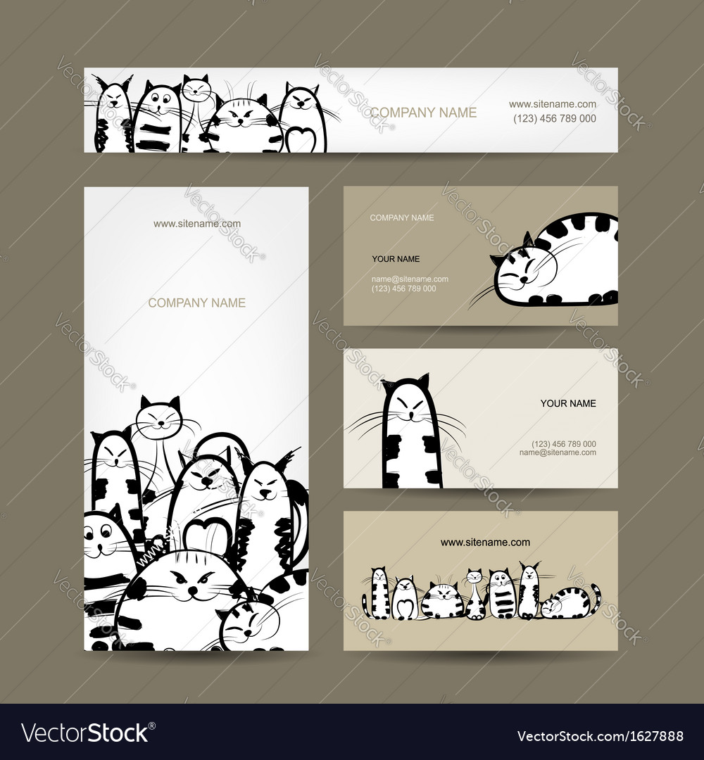 Corporate business cards design with funny striped