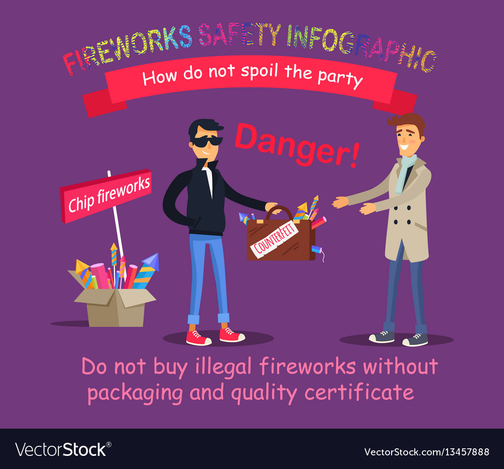 Fireworks safety infographic buying illegal thing vector image