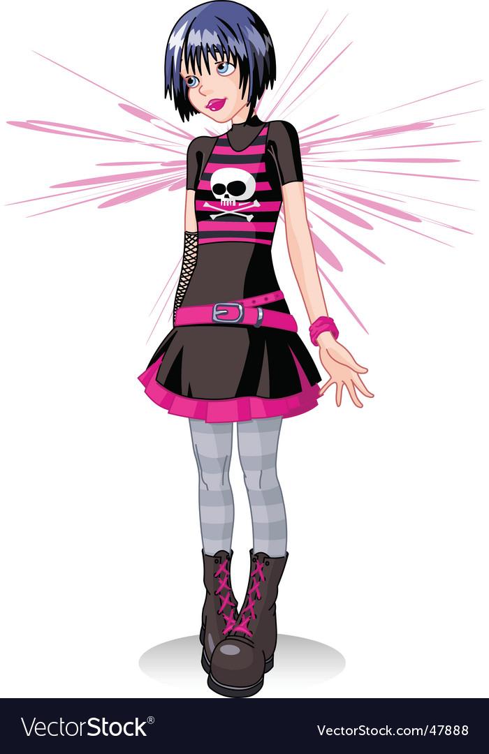 sad emo girl royalty free vector image vectorstock