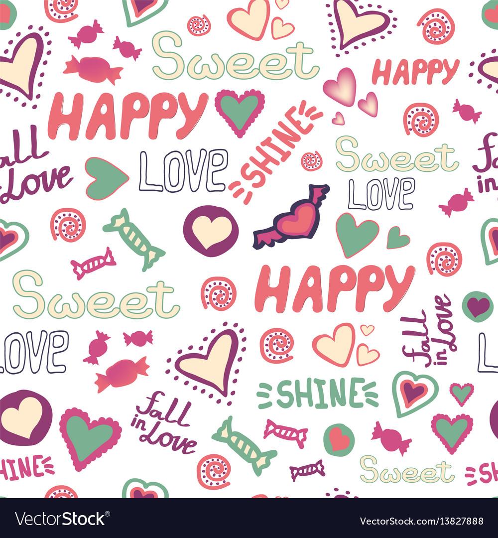 Seamless pattern doodle hearts love happy sweet