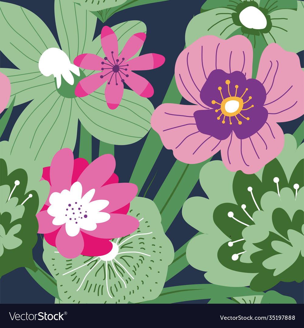 Tropical blooming flowers and leaves pattern
